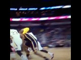 Anthony Davis heads to the locker room grabbing lower back after this tumble.