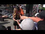 Denise Richards filming EXTRA then greets fans