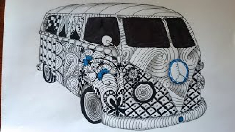 Zentangle Inspired Vw Kombi Van Zendoodle Art
