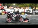 Girl Stunt Crash on Motorcycle