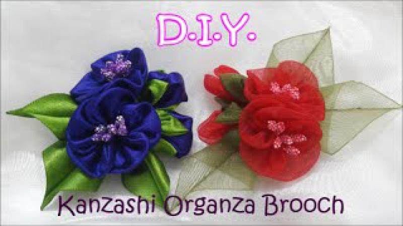 D.I.Y. Kanzashi Organza Brooch - Tutorial   MyInDulzens