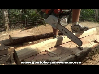 Как сделать скамейку из бревна без единого гвоздя своими руками _ How to make a bench without nails