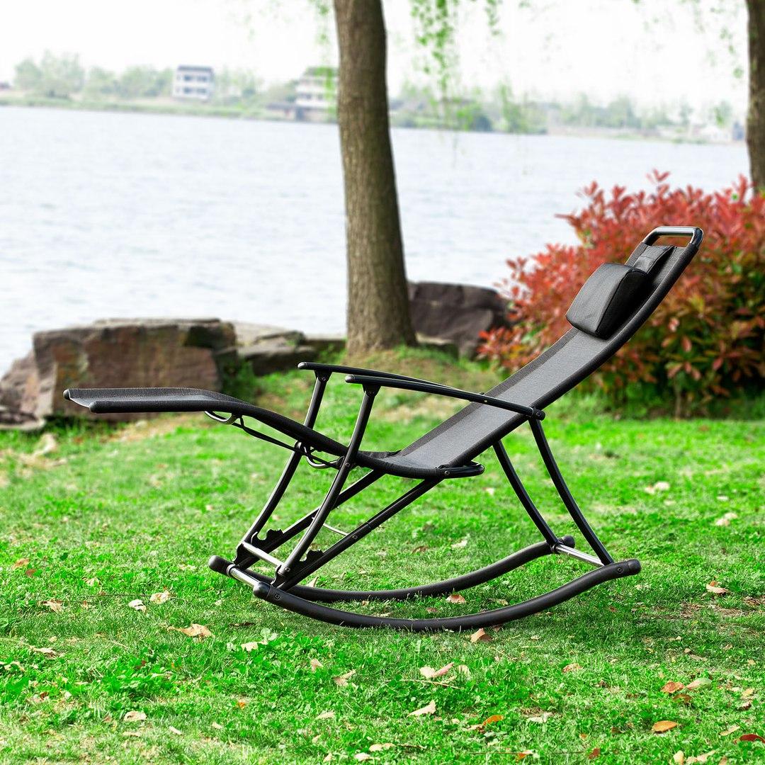 Mecedora silla plegable balanc n tumbona hamaca para su jardin terraza patio ebay - Mecedora plegable ...