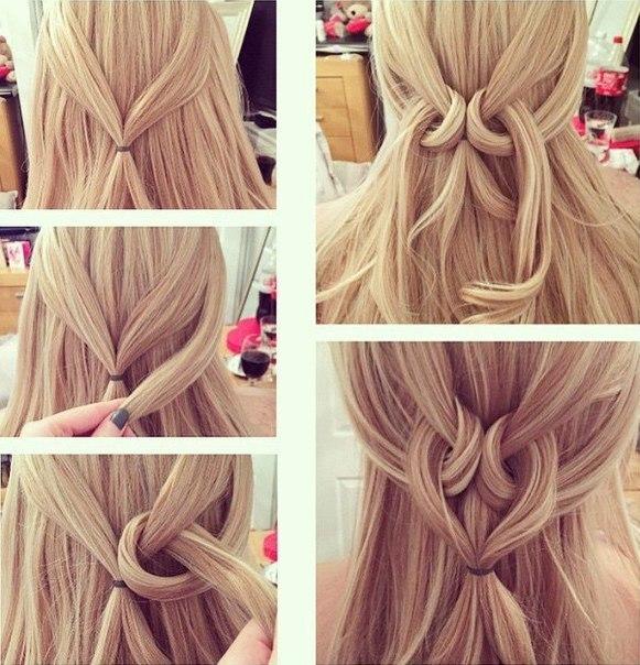 Причёска на каждый день на длинные волосы своими руками фото