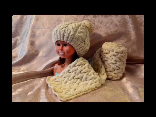 Комплект шапка с шарфом. Шарф часть 2
