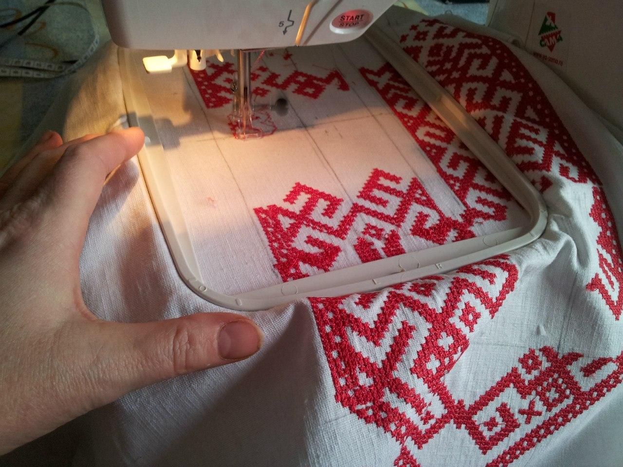 процесс нанесения вышивки