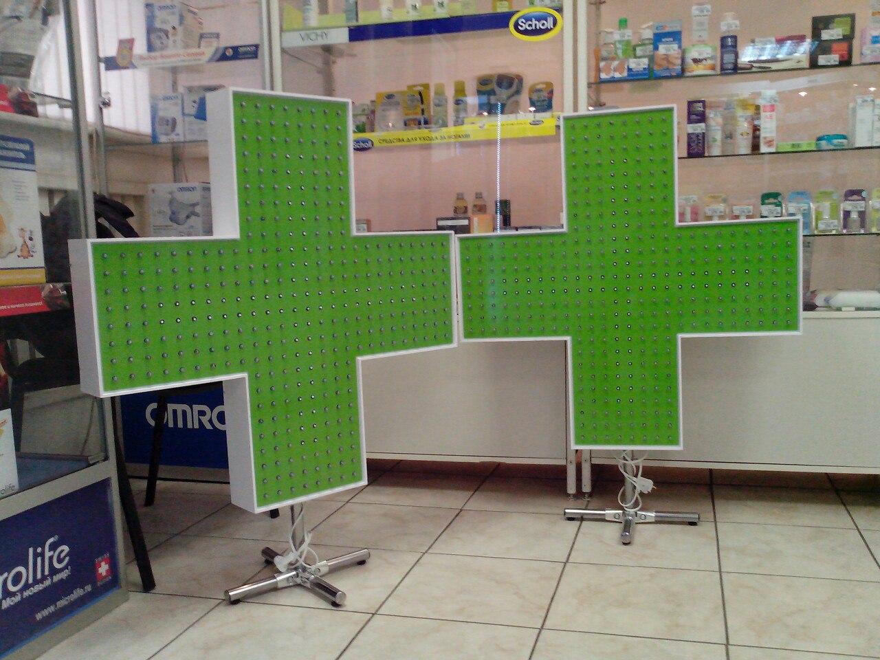 изготовление, производство светодиодных аптечных крестов, аптечный крест, открытые диоды, крест для аптеки в витрину
