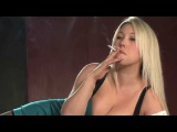 Hot Blonde Girl Lyla Ashby smoking corks on the bed