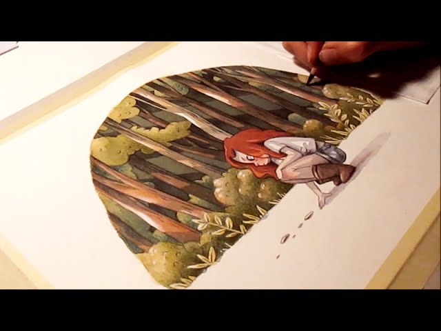 Watercolor illustration traces timelapse work in progress painting drawing art by Iraville