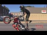 1 LEG Stunt Bike Rider Riding Long WHEELIES Motard STUNTS Moto Supermoto WHEELIE Video ROC 2014