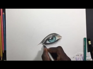 How i draw a realistic eye with color pencils