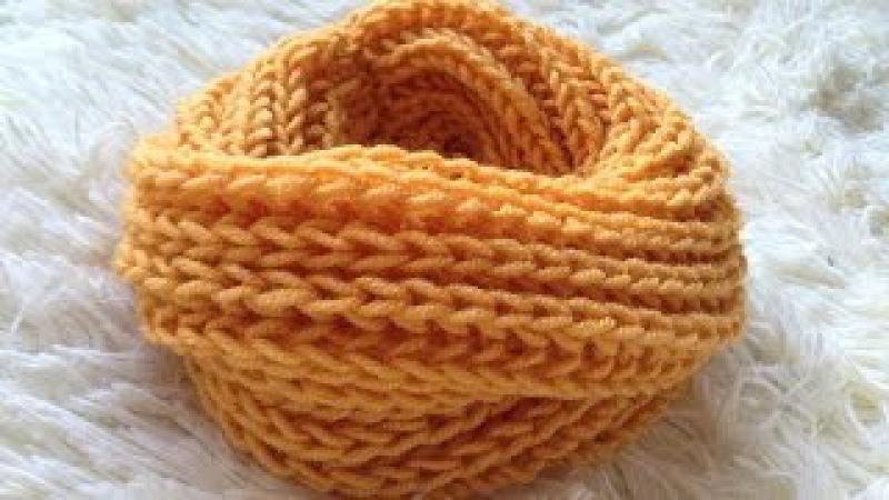 Шарф - снуд детский узором Английская резинка. Cнуд в два оборота спицами. Needles scarf.