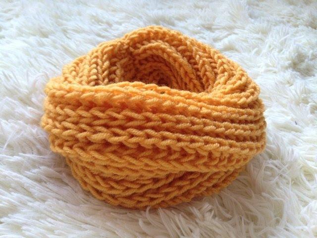 Шарф снуд детский узором Английская резинка Cнуд в два оборота спицами Needles scarf