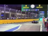 The unexpected pedestrian has bunched up the pack behind the safety car Singapore GP F1 Night Race