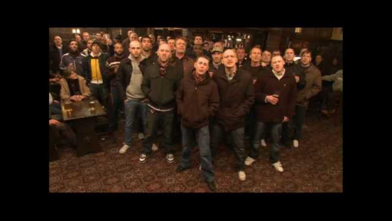 Football hooligans singing song