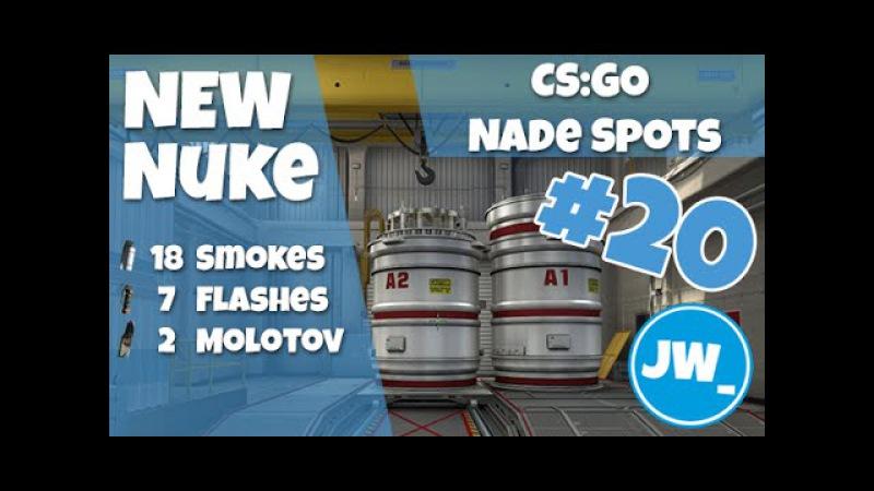 NEW NUKE - Top 18 Smokes, 7 Flashes 2 Molotovs - CS:GO Nade Spots, Jamiew_
