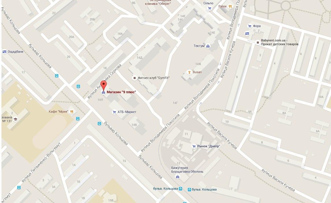 Карта расположения Магазина на Борщаговке