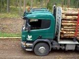 3 лесовоза скания на погрузке.AVI