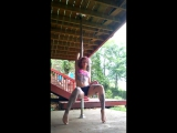rasta girl with tattoo bong hit then pole dances - relax