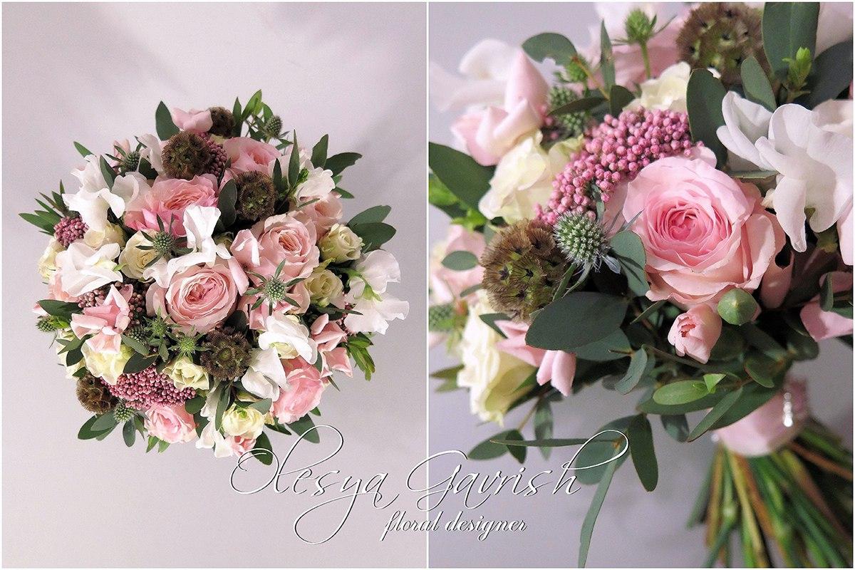 Букет розовый свадебный