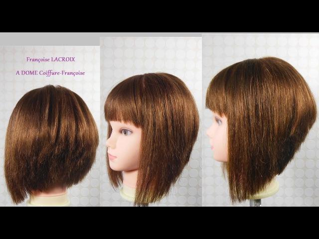 Coupe carré plongeant dégradé frange Layered A Line Bob haircut bangs Corte en capas Bob franja