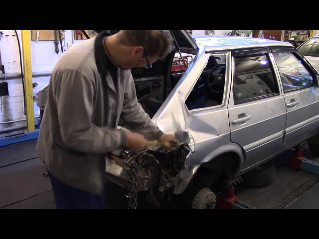 Кузовной ремонт. ВАЗ 2114, меняем заднее крыло1. Body repair.
