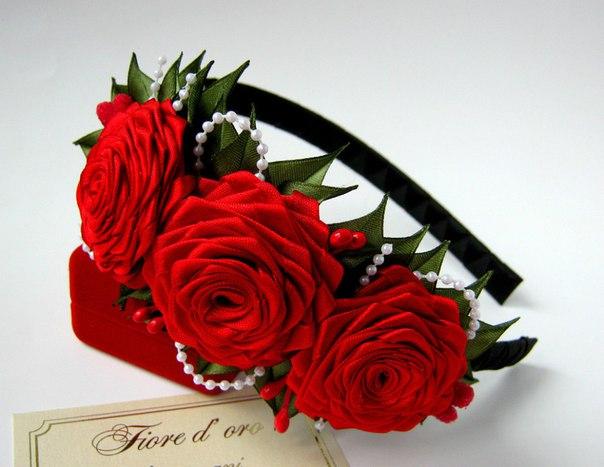 Ободки с розами видео