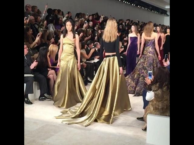 "Ralph Lauren on Instagram: ""Rich jewel tones and a flowing, liquid gold-lamé skirt make for an unforgettable finale moment. RLRunway Fall 2016 NYFW"""
