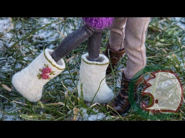 Обувь для кукол - Валенки. How to make Felt Boots for dolls.