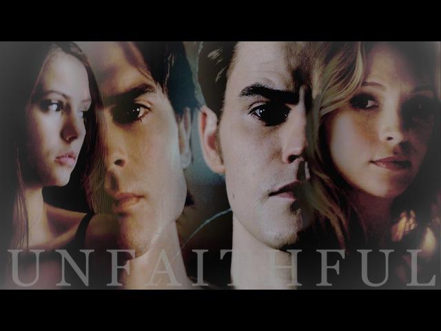 DamonElena vs StefanCaroline || Unfaithful (AU)