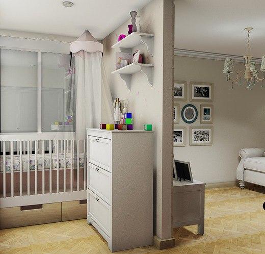 Концепт прямоугольной студии для семьи с ребенком.
