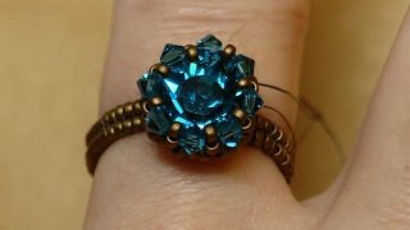 Sidonias handmade jewelry - Swarovski Solitaire beaded ring