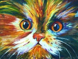 How to paint a Colorful Calico Cat #pawaugustart 60 minute step by step tutorial