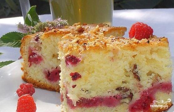Легкий пирог с малиной рецепты