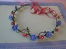 Венок с голубыми цветами из фоамирана напроволочной основе своими руками