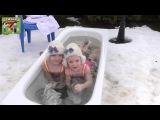 Зимнее купание детей в горячей ванне.