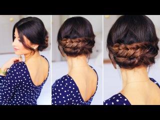Прическа с двойной косой - рыбий хвост / собранные волосы