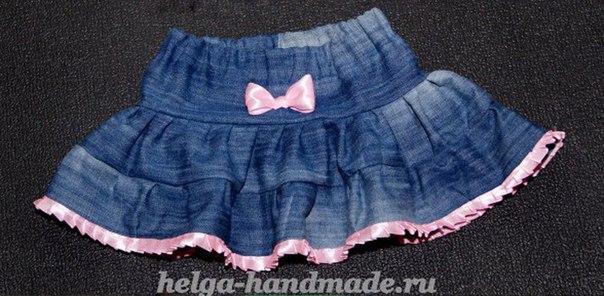 Юбка для девочки из старых джинсов мастер класс