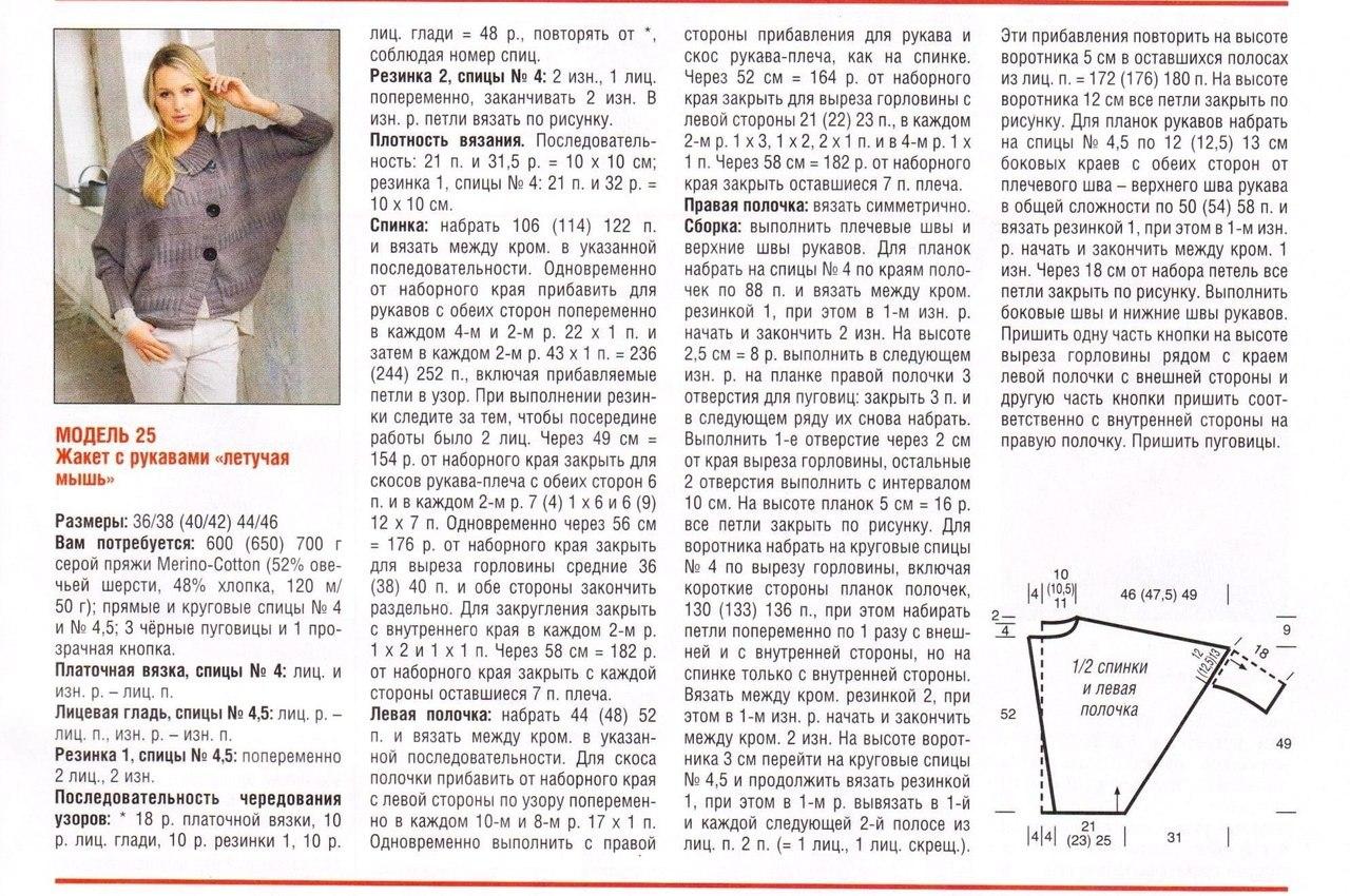 Кардиган летучая мышь крючком схемы и описание