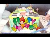 Birthday cake with cars. Торт на день рождения с машинками.