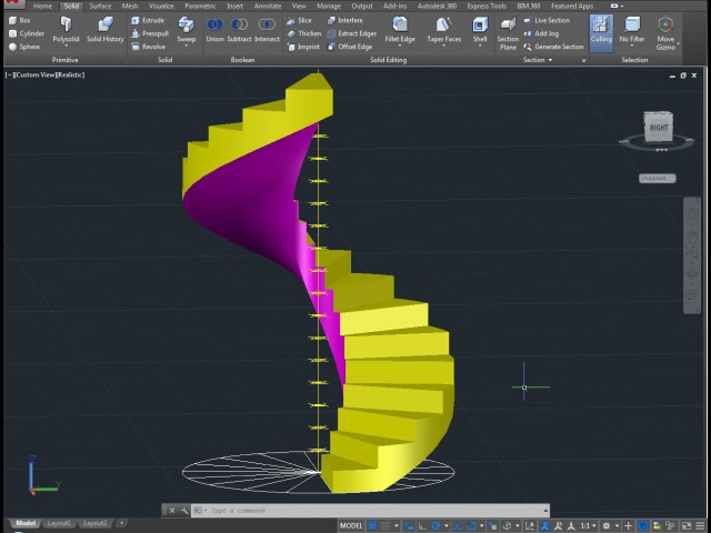 How to build a Spiral staircase with AutoCAD in few minutes - Architecture