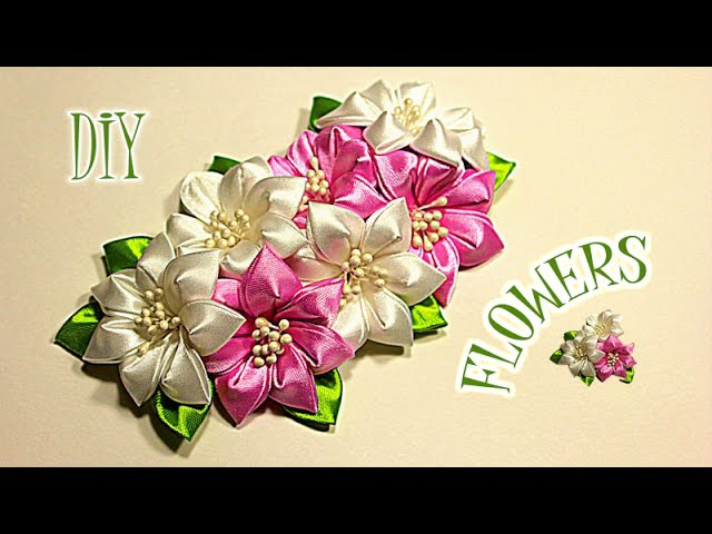 Цветы из Лент для Варвары Канзаши Мастер Класс KANZASHI DIY