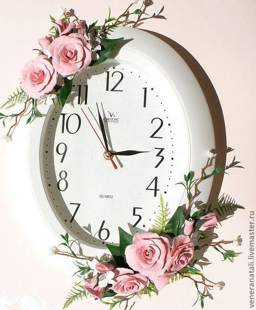 Часы с цветами своими руками 578