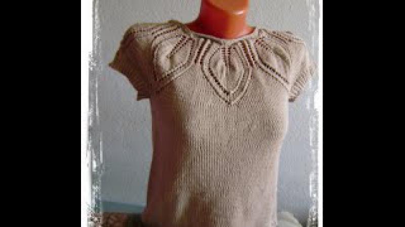Топик спицами с кокеткой из листьев free summer knitting patterns Вязание с LusiTen