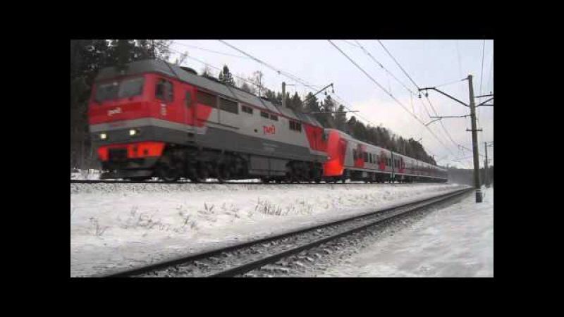 Тепловоз ТЭП70БС-235 с электропоездом ЭС2Г-005 Ласточка / РЖД
