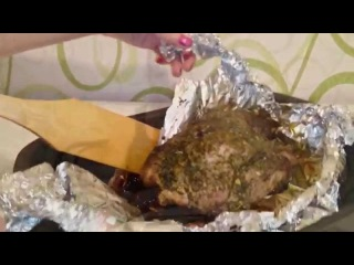 Свинина в духовке запеченная в фольге Рецепт как приготовить свиниу блюдо пошаг...