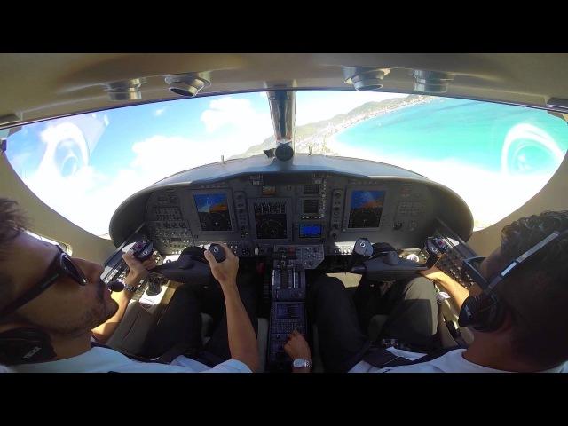 Citation CJ3 Saint Maarten landing takeoff cockpit view full hd gopro