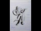 Трехмерные рисунки на скучных страницах обычного блокнота в линейку