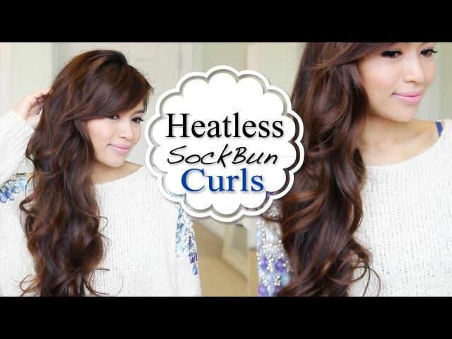 Overnight HEATLESS Sock Bun Curls Hair Tutorial » Freewka.com - Смотреть онлайн в хорощем качестве