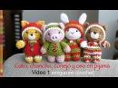 Oso, gato, chancho y conejo bebés en pijamas (crochet-amigurumi) Parte 1
